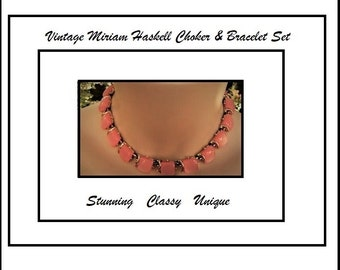 Miriam Haskell Choker & Bracelet Set Opaque Pink Glass with Gold Trim and Spacers