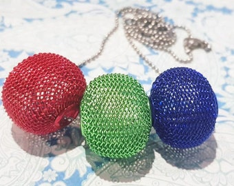 Adriana RGB Red Green Blue Mesh 3 Bead Necklace
