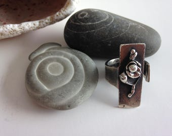9.25 Oxidized Silver Ring  Adjustable 7 to 8.75, Silver Melting Collection of the Universe