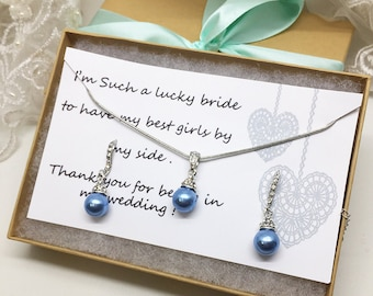 Bridesmaid jewelry set, Bridesmaid gift, bridesmaid necklace, bridesmaid earrings, Wedding jewelry set, Light Blue pearl necklace earrings