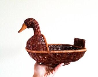 Woven Duck Table Decor, Woven Rattan Basket, Vintage Basket, Home Decor, Wicker Basket, Planter, Rustic, Bohemian, Boho Decor, Natural Bowl