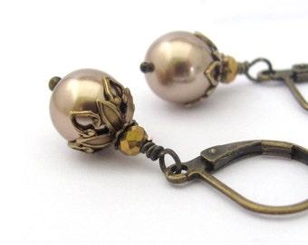 Bronze Pearl Earrings, Swarovski Crystal Pearls, Steampunk Earrings, Pearl Earrings, Wedding Earrings, Bridesmaid Gift
