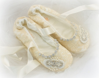 Champagne Wedding Flats Shoes Lace Ballet Slippers Beaded Elegant Style Vintage Wedding
