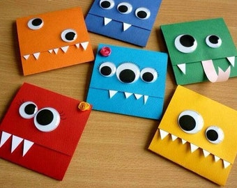 Little monster card,cute monster, funny birthday card, kids birthday card, Eye see You, Colourfull Monsters, Toothy monster card (Set of 6)