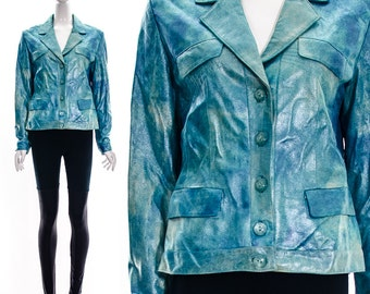 Vintage Teal Aqua Blue holographic Iridescent Metallic GENUINE Leather Jacket Buttery Soft Leather Rainbow Stitching Seapunk Jacket S m