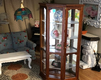 Miniature Mirrored Curio Cabinet, Wood Cabinet, 4 Shelves, Dollhouse Miniature, 1:12 Scale, Dollhouse Furniture,