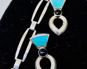 Vintage Turquoise 925 Sterling Silver Modernist Bracelet & Earrings Black Onyx Mid Century