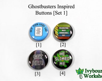 Ghostbusters Inspired 1-Inch Pinback Buttons [Set 1]