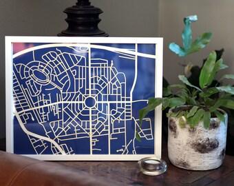 Park Circle, North Charleston, SC map 11x14 laser-cut print, white on indigo