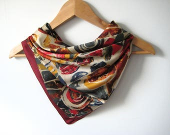 Vintage Scarf Abstract Red Rust Beige Abstract Vintage Scarf