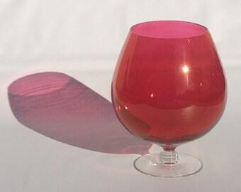 Large Red Brandy Snifter | Mid Century Art Glass | Oversize Ruby Balloon Vase