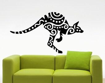Kangaroo Wall Decal Australian Wild Animal Wallaby Vinyl Sticker Home Interior Kids Room Nursery Art Decoration Mural (213a)