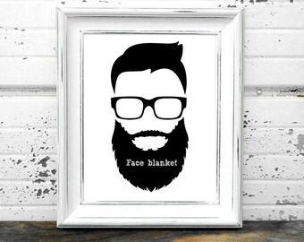 Beard Printable, #Face,#Beard,#Hair,#Joke,#Gag,#Humor,#BlackandWhite,#Glasses,#Art,#Print,#Modern,#Hip,#Hipster,#Man,#Men,#Urban,#Retro,#DIY