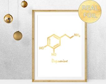 Real Gold Foil Dopamine Molecule Art Print - Poster