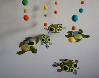 Mobile 5 handmade felt turtle