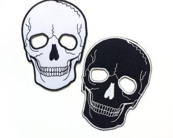 "SKULLS B&W Patch Set - No Eye Skulls - Black and White Skulls Iron-on Patches - Size 4"" (KIT016)"