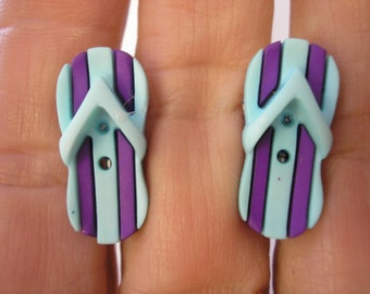 "Play Earring - Clip or Pierced - Flip Flop - Blue/Purple - 1/2"" x 3/4"""