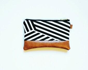 Black and white geo striped coin purse