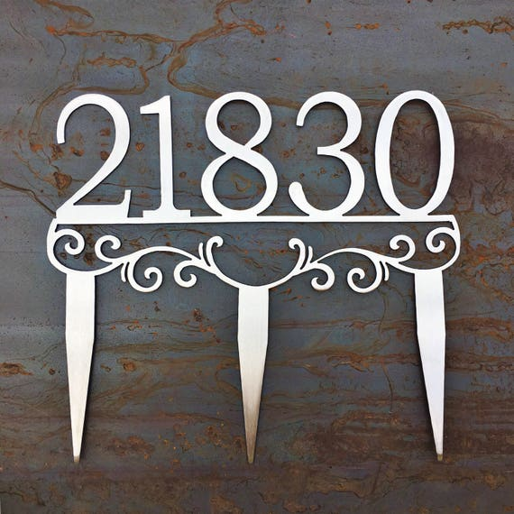 Metal Address Stakes | Yard Address | House Number Yard Sign | Stainless Steel Address Marker
