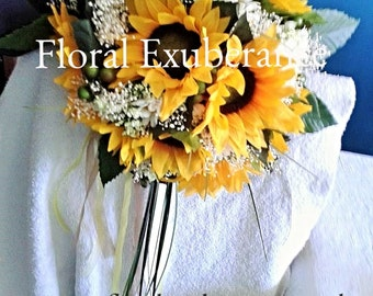 Artificial Sunflower and Daisy Silk Bridal Bouquet with silk sunflowers, gypsohilia, daisies and berries