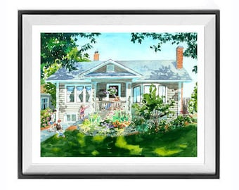 Custom painting, House, Customized wall art, pet with you, Wedding, Landscape, Original watercolor, Simple composition, Art Sale
