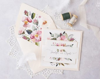floral wedding invitations, printable wedding invitations, blush wedding invitation, wreath invitation, watercolor wedding invite, wildwood