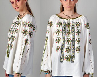 vintage 1970's beautiful embroidered, bohemian, free spirit blouse      H1