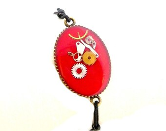 Bracelet elastic red steampunk