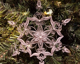 Large Quilled Silver Snowflake Christmas Ornament With Glitter