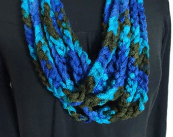 Crochet necklace, crochet infinity scarf necklace, lightweight cowl, blue and brown, infinity necklace, crochet accessory