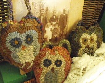 Owl Babies Paper Patterns for rug hooking and punchneedle embroidery//printed version