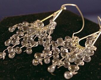 Plumbers Blue Glass Chandelier Earrings