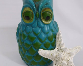 1970's Turquoise and Green Ceramic Owl Bank
