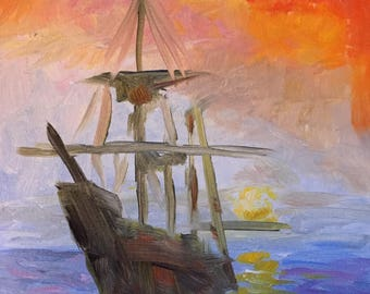 Sailing Ship at Sunset - Original Impressionist Oil Painting, 8x10, Signed