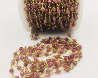 4mm faceted tourmaline Gold Plated Rosary Gemstone Chain. Sale by Foot