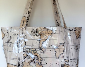 Large world map etsy beach bagpicnic bagtote bagflight bagmade in world map gumiabroncs Gallery