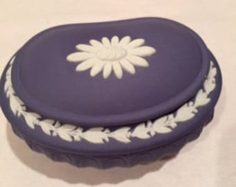 Wedgewood dark blue Jasperware earring/jewelry bowl with lid