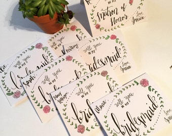 Will You Be My Bridesmaid? Personalized Cards - Wedding - Hand Lettered - Watercolor - Customize - Maid of Honor - Calligraphy