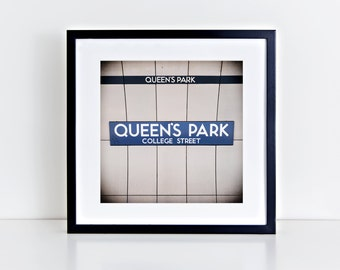 Toronto Queen's Park Subway Sign Print - Retro Square Wall Art, Blue Wall Art - Made in Canada Toronto Art - Fits IKEA Ribba Frames