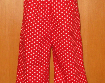 Girl Red Ruffle Pant,Red Polka Dots Double Ruffles Pant, Christmas Ruffle Pant, Toddler Pant, Little Girl polka Dots Ruffle Pant