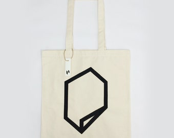 Paradox- hand screen printed tote bag/cotton bag/ shopping bag with black and white geometry pattern