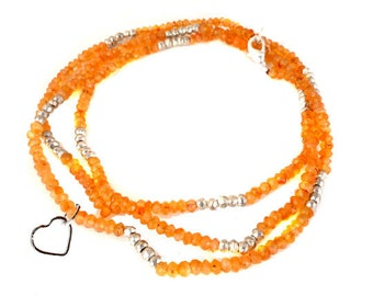 "Gemstone Beaded Chain with Heart Charm -- Finished 24""  Carnelian and Silver Pyrite 4mm Bead Chain with Silver Lobster Clasp"