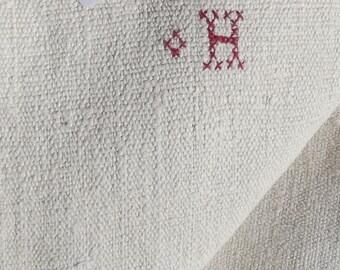Vintage French Fabric Woven Chanvre organic primitive linen 19th century hemp textile