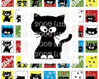 1 inch Square ORIGINAL -- NO CLIP ART -- Scrabble or Glass Tile Digital Collage Sheet PDF or JPEG --- Abby the Little Black Cat Brights