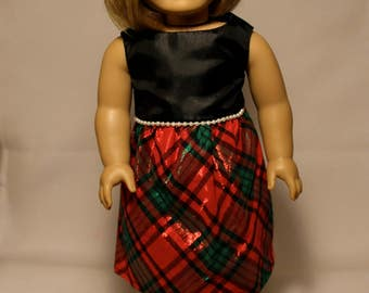 Short Christmas Plaid Dress-Made to fit 18 inch Dolls like American Girl Doll Clothes