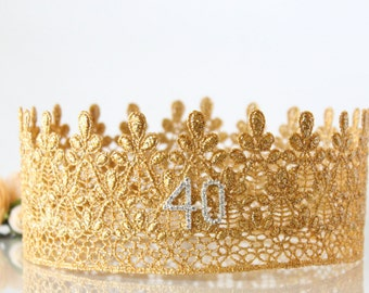 40th Gold Birthday Crown - Lace - Birthday Crown - Adult - Full Size - Photo Prop - 21st 30th 50th 75th - Ivy - Hen Party - Cake Smash
