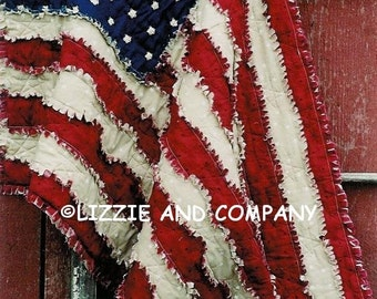 "RaG FLaG LaP QUiLT 42"" X 27"" and Larger 53"" X 79"" ePattern - PDF ePattern - Primitive Raggedy American Flag ePATTERN - Immediate Download"