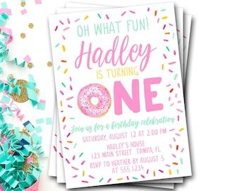 Donut Birthday Invitation, Doughnut Birthday Invitation, First Birthday, Pink Donut Invitation, Donut Party, Donut Invite, DIY Printable