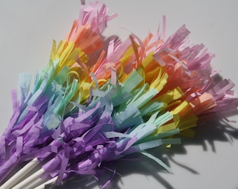 Pastel Rainbow Party Fringe Cupcake Toppers