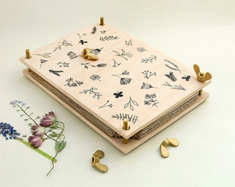 Flower Press, Botanical press, Silkscreen, Herbarium,Wooden Flower Press, Leaf Press, Floral Craft, Gift for Gardeners, Gift for her,